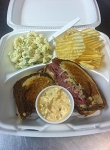 Grilled Rueben on Marble Rye with Macaroni Salad & Chips
