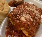 Lasagna with a side of Meatball or Sausage & Buttered Roll