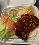 BBQ BUTTERFLIED PORK CHOP SANDWICH WITH LETTUCE TOMATO